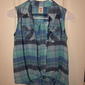 Blue plaid tie front top
